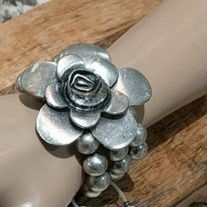ERICA LYONS Rose Stretch Bracelet Silver Beads